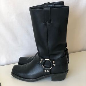 Frye Harness Leather Black Moto Biker Riding Boots
